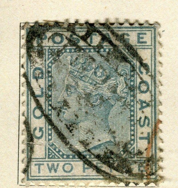 GOLD COAST;  1884-91 early classic QV issue fine used 2d. value POSTMARK