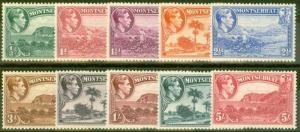 Montserrat 1938 Perf 13 set of 10 SG101-110 Fine Mtd Mint