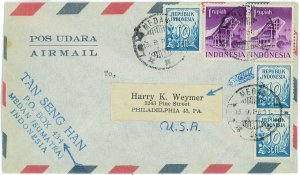 93736 -  INDONESIA  - POSTAL HISTORY -  Airmail COVER to the USA  1955