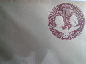 SCOTT # U349 TWO CENT COLUMBIAN MINT ENTIRE POSTAL HISTORY 1892