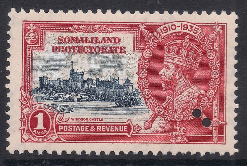 Somaliland Prot. Silver Jubilee 1935 1d Security Hole Variety (Sg 86var) MNH