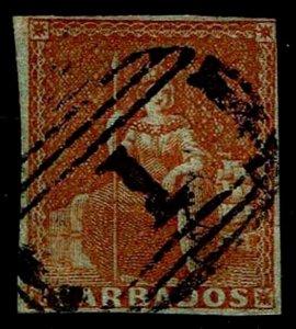 1855 Barbados #4 Britannia - Blued Paper - Used - VF - CV$140.00 (ESP#4067)