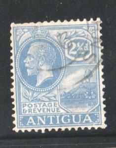 1918 ANTIGUA - S.G:71 - KGV - 21/2d BRIGHT BLUE -  USED