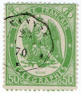 (I.B) France Telegraphs : 50c Yellow-Green (1868)