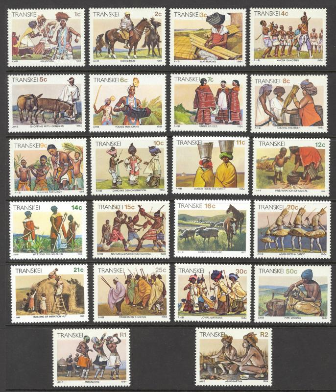 South Africa Transkei Sc# 129-150 MNH 1984-1990 1c-2r Xhosa Lifestyle