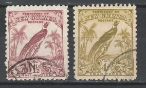 NEW GUINEA 1932 UNDATED BIRD 11/2D AND 4D USED