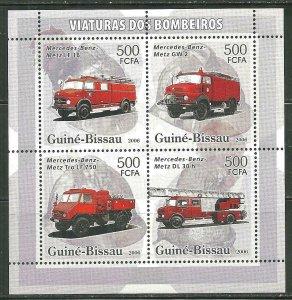 Guinea-Bissau MNH S/S Fire Trucks 2006 4 Stamps