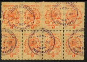 HONDURAS 1897 5c Orange Documentary Tax Revenue w Control Handstamp BLOCK 8 MH