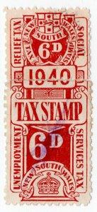 (I.B) Australia - NSW Revenue : Unemployment & Social Services Tax 6d (1940)