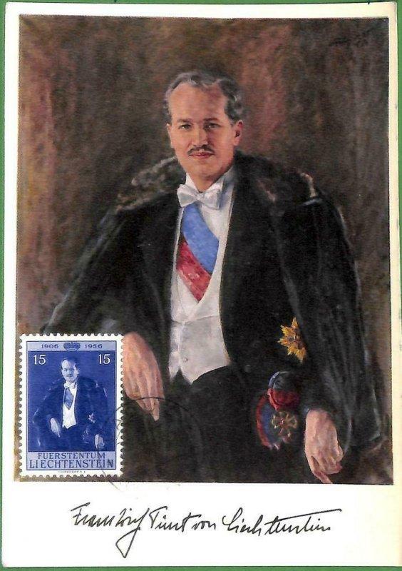 90234 - LIECHTENSTEIN - Postal History - MAXIMUM CARD - ART Royalty 1956