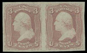 US SCOTT #65P5 Horizontal Pair Imperf Proof On Stamp Paper VF-XF (DFP 7/7/20)