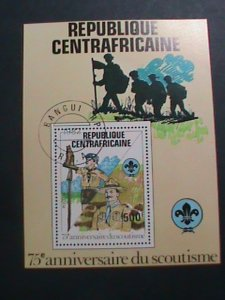 CENTRAL AFRICA-1982- 75TH ANNIVERSARY-WORLD SCOUT DAY CTO- SHEET- VF