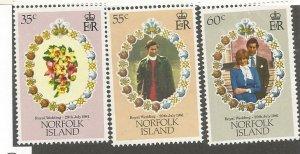Norfolk Islands MNH 280-2 Royal Wedding Lady Diana 1981