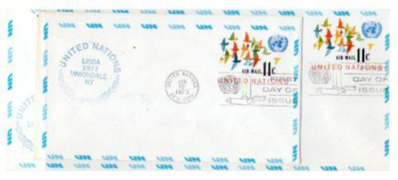 UN 2 OLDER $.11 AIRMAIL POSTAL STATIONERY  FDC's