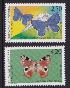 Andorra French  #427-428  MNH  1993  butterflies