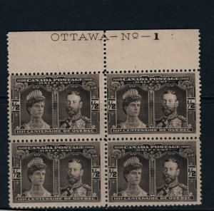 Canada #96 Never Hinged Mint Plate #1 Block **With Certificate**