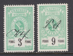 Germany, Bremen, 1885 Documentary fiscals, 2pf & 9pf values, used, sound, F-VF