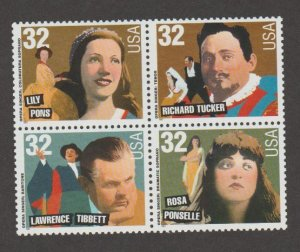 U.S. Scott #3154-3157a Opera Singers Stamps - Mint NH Block of 4