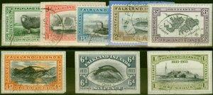 Falkland Islands 1933 Centenary Set of 8 to 1s SG127-134 V.F.U on Pieces 1 1/...