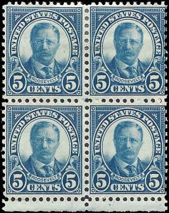 637 Mint,OG,HR/NH... Block of 4... SCV $9.80