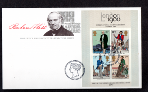 Rowland Hill m/sheet missing pale greenish-yellow on FDC