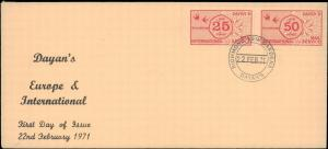 GREAT BRITAIN DAYAN'S INTERNATIONAL STRIKE MAIL FIRST DAY COVER 1971