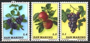 San Marino. 1973. 1031-34. Plum, apples, grapes. MNH.