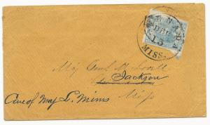 CSA Scott #2 on Cover Vicksburg, MS to Grenada FWD to Jackson December 1862