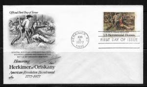 US FDC Cachet 1977 American Revolution Honoring Gen.Herkimer at Oriskany !