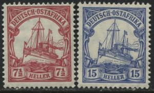 German East Africa 1905  7 1/2 & 15 heller mint o.g.