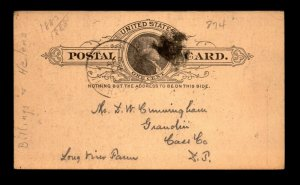 1880s Billings & Helena RR RPO Card / Minor Cnr Crease / Towle Unlisted - L22494