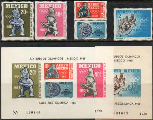 MEXICO 965-966,C309-C311a. 1965 First Pre-Olympic set (1253)