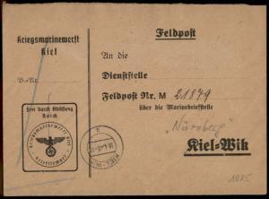 3rd Reich Germany 1940 Kriegsmarinewerft Kiel to Navy Ship Nuernberg Feldp 74321
