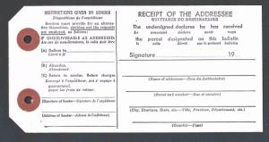 Ca 1950 U S Post Office Customs Declaration Tag Form #2972 W/Afixing See Info