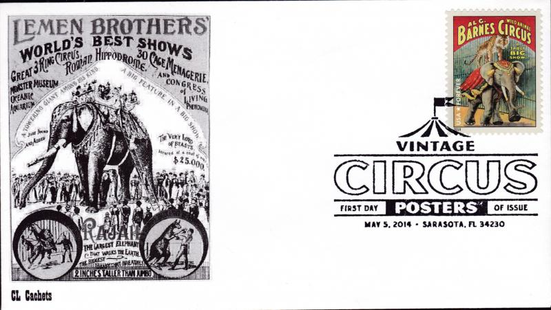 United States 2014 Vintage Circus Posters (8) on First Day Covers B&W CL Cachet