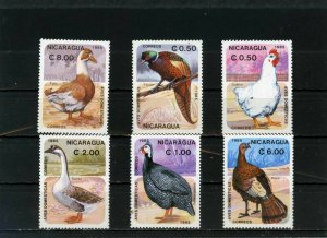 NICARAGUA 1985 BIRDS SET OF 6 STAMPS MNH