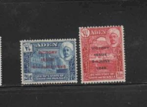 ADEN-QUAITI STATE #12-13  1946  PEACE ISSUE   MINT VF LH  O.G
