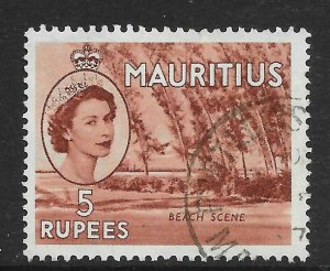 MAURITIUS SG305 1954 5r RED-BROWN USED