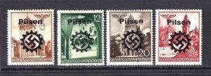 POLAND N56//N63 GERMANY OCC PILSEN OVERPRINTS OG H M/M F/VF TO VF x4