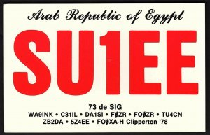 QSL QSO RADIO CARD SU1EE,Equidistant Map Centered On Cairo, Egypt (Q2599)