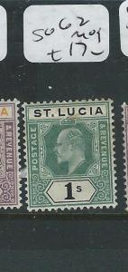 ST LUCIA (P0408B) KE 1/-  SG62   MOG