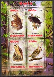 Rwanda 2013 Birds (3) Owls MNH Cinderella !