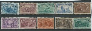 230-9 Columbian set stamps F-VF OGh