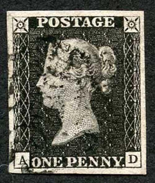 Penny Black (AD) Plate 1b Very Fine Four Margins