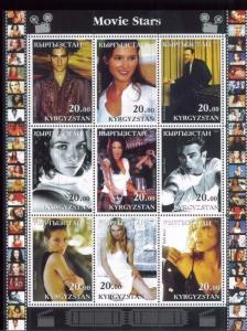 MOVIE STARS Kevin Spacey, Halle Berry, ext. Mini Sheet of 9 MNH Kyrgyzstan - E36