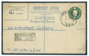 O213 1945 GB Military Polish Forces in Egypt Registered Envelope WW2/Scotland