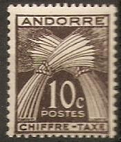 1943 Andorra-French Scott J21 Wheat Sheeves MNH