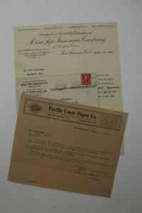 Aetna Life Insurance Co San Fran CA 1904 Pacific Coast Paper Co Letterhead