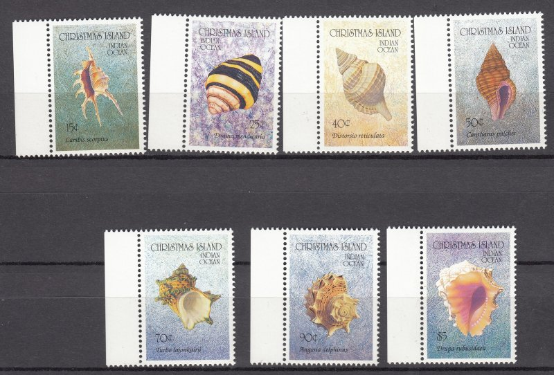 J28382, various 1992 christmas island part of set mnh with hv #341 seashell