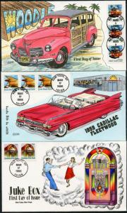 #2908 // #3522 (3) DIFFERENT COLLINS HAND PAINTED FDC CACHET BP7388